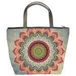 Folk Art Lotus Mandala Dirty Blue Red Bucket Bags Back