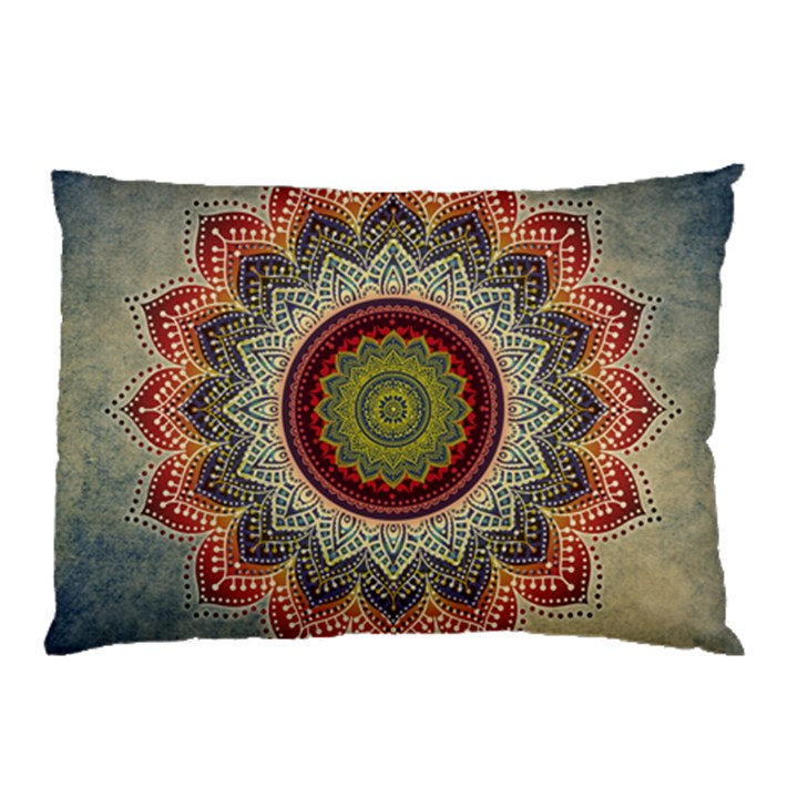 Folk Art Lotus Mandala Dirty Blue Red Pillow Case