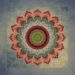 Folk Art Lotus Mandala Dirty Blue Red Mini Canvas 8  x 8  8  x 8  x 0.875  Stretched Canvas
