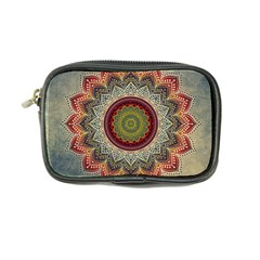Folk Art Lotus Mandala Dirty Blue Red Coin Purse