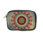 Folk Art Lotus Mandala Dirty Blue Red Coin Purse Front