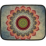 Folk Art Lotus Mandala Dirty Blue Red Double Sided Fleece Blanket (Mini)  35 x27 Blanket Front