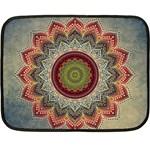 Folk Art Lotus Mandala Dirty Blue Red Double Sided Fleece Blanket (Mini)  35 x27 Blanket Front