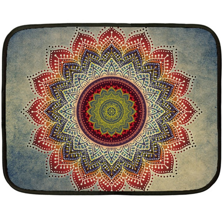 Folk Art Lotus Mandala Dirty Blue Red Double Sided Fleece Blanket (Mini)