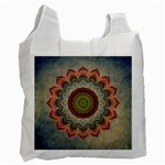 Folk Art Lotus Mandala Dirty Blue Red Recycle Bag (One Side) Front