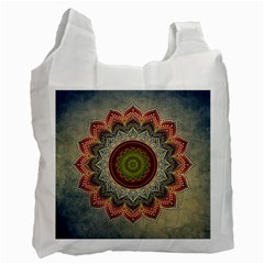 Folk Art Lotus Mandala Dirty Blue Red Recycle Bag (Two Side)