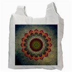 Folk Art Lotus Mandala Dirty Blue Red Recycle Bag (Two Side)  Back