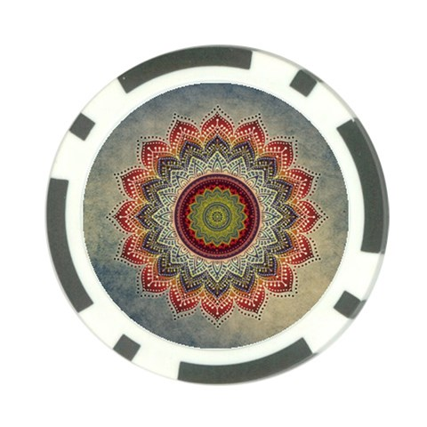 Folk Art Lotus Mandala Dirty Blue Red Poker Chip Card Guards (10 pack)