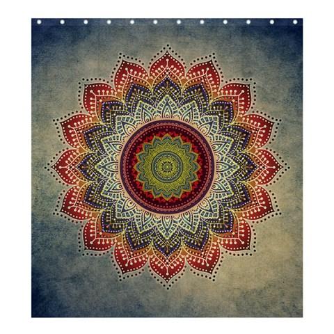 Folk Art Lotus Mandala Dirty Blue Red Shower Curtain 66  x 72  (Large)