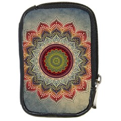 Folk Art Lotus Mandala Dirty Blue Red Compact Camera Cases