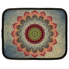 Folk Art Lotus Mandala Dirty Blue Red Netbook Case (xxl)