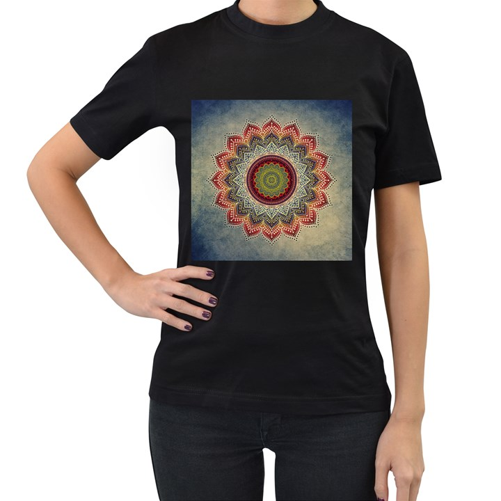 Folk Art Lotus Mandala Dirty Blue Red Women s T-Shirt (Black)