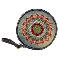 Folk Art Lotus Mandala Dirty Blue Red Classic 20-CD Wallets