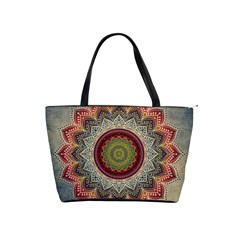 Folk Art Lotus Mandala Dirty Blue Red Shoulder Handbags