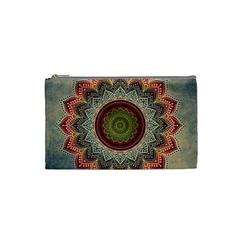 Folk Art Lotus Mandala Dirty Blue Red Cosmetic Bag (Small)
