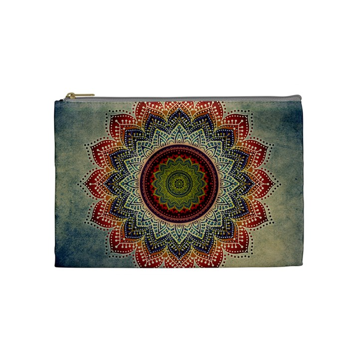 Folk Art Lotus Mandala Dirty Blue Red Cosmetic Bag (Medium)