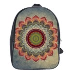 Folk Art Lotus Mandala Dirty Blue Red School Bags(Large)  Front