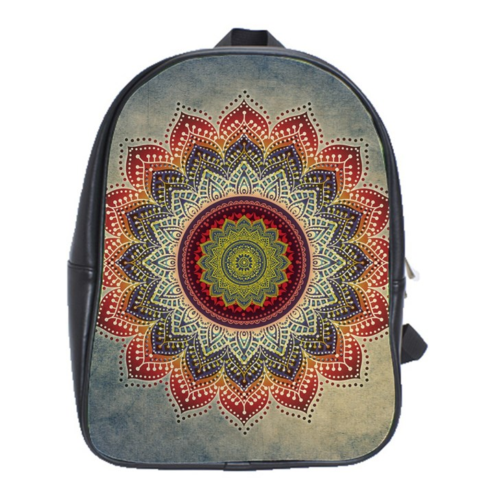 Folk Art Lotus Mandala Dirty Blue Red School Bags(Large)