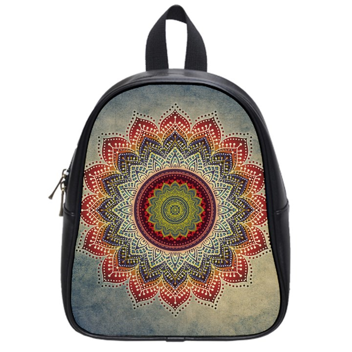 Folk Art Lotus Mandala Dirty Blue Red School Bags (Small)