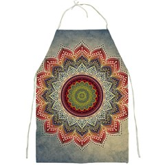 Folk Art Lotus Mandala Dirty Blue Red Full Print Aprons