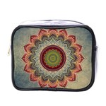 Folk Art Lotus Mandala Dirty Blue Red Mini Toiletries Bags Front