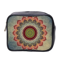 Folk Art Lotus Mandala Dirty Blue Red Mini Toiletries Bag 2 Side