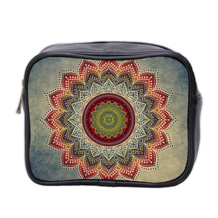 Folk Art Lotus Mandala Dirty Blue Red Mini Toiletries Bag 2-Side