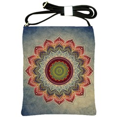 Folk Art Lotus Mandala Dirty Blue Red Shoulder Sling Bags