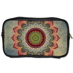 Folk Art Lotus Mandala Dirty Blue Red Toiletries Bags