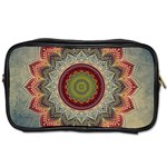 Folk Art Lotus Mandala Dirty Blue Red Toiletries Bags Front