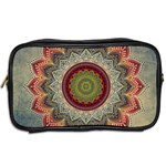 Folk Art Lotus Mandala Dirty Blue Red Toiletries Bags 2-Side Back