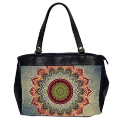 Folk Art Lotus Mandala Dirty Blue Red Office Handbags (2 Sides)