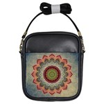 Folk Art Lotus Mandala Dirty Blue Red Girls Sling Bags Front