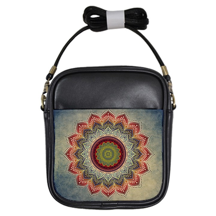 Folk Art Lotus Mandala Dirty Blue Red Girls Sling Bags