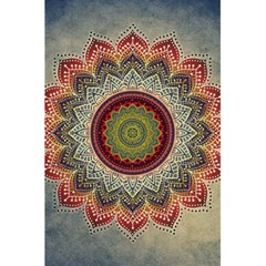 Folk Art Lotus Mandala Dirty Blue Red 5.5  x 8.5  Notebooks