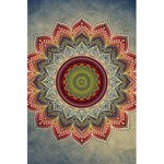 Folk Art Lotus Mandala Dirty Blue Red 5.5  x 8.5  Notebooks Front Cover