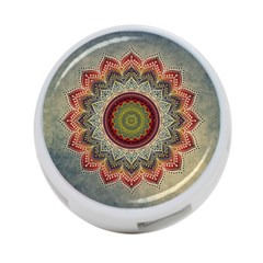 Folk Art Lotus Mandala Dirty Blue Red 4-Port USB Hub (One Side)