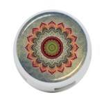 Folk Art Lotus Mandala Dirty Blue Red 4-Port USB Hub (One Side) Front