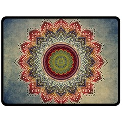 Folk Art Lotus Mandala Dirty Blue Red Fleece Blanket (large)