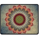 Folk Art Lotus Mandala Dirty Blue Red Fleece Blanket (Medium)  60 x50 Blanket Front