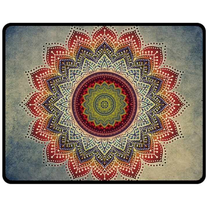 Folk Art Lotus Mandala Dirty Blue Red Fleece Blanket (Medium)