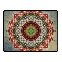 Folk Art Lotus Mandala Dirty Blue Red Fleece Blanket (Small)