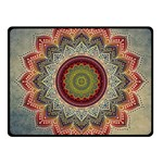 Folk Art Lotus Mandala Dirty Blue Red Fleece Blanket (Small) 50 x40 Blanket Front