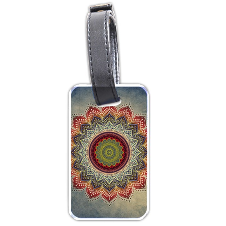 Folk Art Lotus Mandala Dirty Blue Red Luggage Tags (One Side)