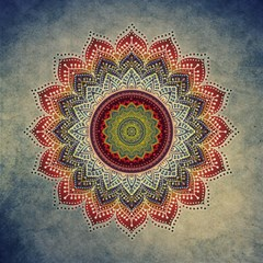Folk Art Lotus Mandala Dirty Blue Red Magic Photo Cubes