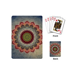 Folk Art Lotus Mandala Dirty Blue Red Playing Cards (Mini)