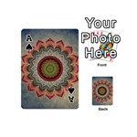 Folk Art Lotus Mandala Dirty Blue Red Playing Cards 54 (Mini)  Front - SpadeA