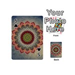Folk Art Lotus Mandala Dirty Blue Red Playing Cards 54 (Mini)  Front - Spade5