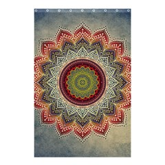 Folk Art Lotus Mandala Dirty Blue Red Shower Curtain 48  X 72  (small)