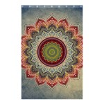 Folk Art Lotus Mandala Dirty Blue Red Shower Curtain 48  x 72  (Small)  42.18 x64.8 Curtain